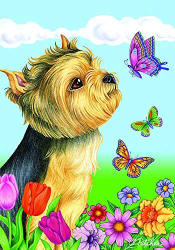 - Best of Breed Yorkie Puppy Cut Butteryfly Garden Flag