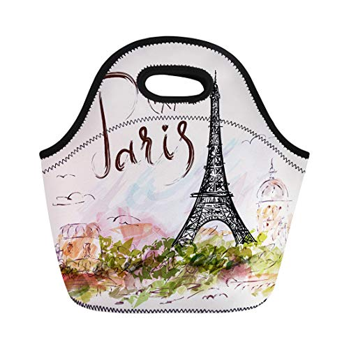 Bottle France Water Tour De (Semtomn Lunch Tote Bag Watercolor Vintage Eiffel Tower Paris France French City Pattern Reusable Neoprene Insulated Thermal Outdoor Picnic Lunchbox for Men Women)
