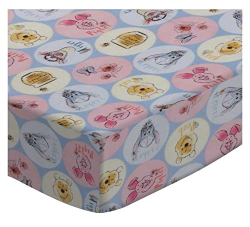 SheetWorld Fitted Portable Mini Crib Sheet - Pooh & Friends Circles - Made In USA PC-W1066