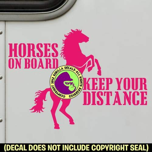 REARING HORSE Caution Trailer Vinyl Decal Sticker D HORSES ON BOARD KEEP YOUR DISTANCE
