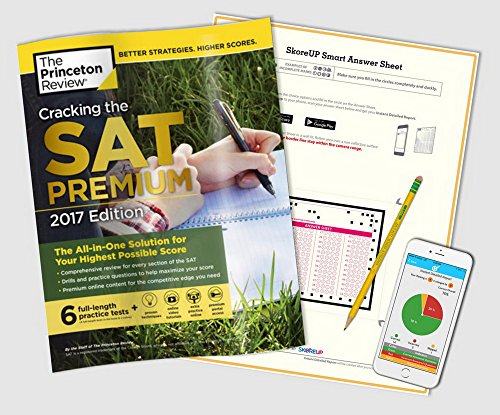 Cracking the New SAT Premium 2017 Edition Book, The Princeton Review + Answer Sheets