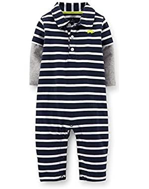 Boy's 1 Pc Navy Striped Jersey Jumpsuit (3 Months)