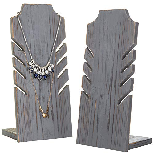 MyGift Set of 2 Dark Gray Wood Multiple Necklace Bust Display Stand - Holds up to 5 Necklaces