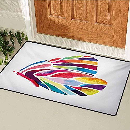 (GUUVOR Modern Universal Door mat Butterfly with Rainbow Colored Wings Geometric Lines Modern Artwork Image Print Door mat Floor Decoration W31.5 x L47.2 Inch Multicolor )