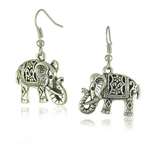 Tibetan Silver Cute Fat Carve Flower Elephant Ear Wire Hook Dangle Earrings