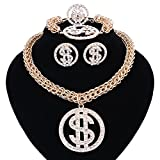 Dollar Sign Pendant Necklace Earring Bracelet Ring Gold Plated Chain For Women/Men Rhinestone Hip Hop Jewelry Set (gold)