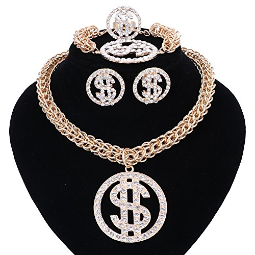 WANG Dollar Sign Pendant Necklace Earring Bracelet Ring Gold Plated Chain for Women/Men Rhinestone Hip Hop Jewelry Set (Gold) ()