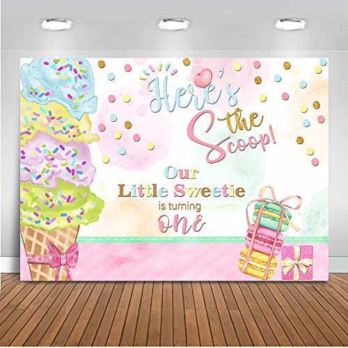 Mehofoto Ice Cream Birthday Backdrop Baby 1st Birthday