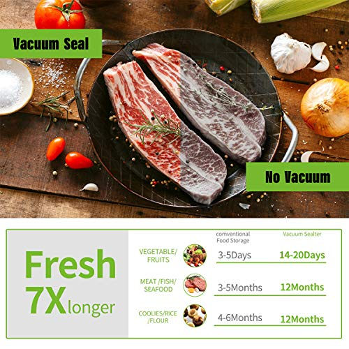 Vacuum Sealer Machine for Food Saver Storage, Automatic Food Sealers Commercial Vacuum Packing Machine Portable Heat Sealer with 10 Vacuum Sealer Bags for Dry & Moist Food Food Preservation -Black