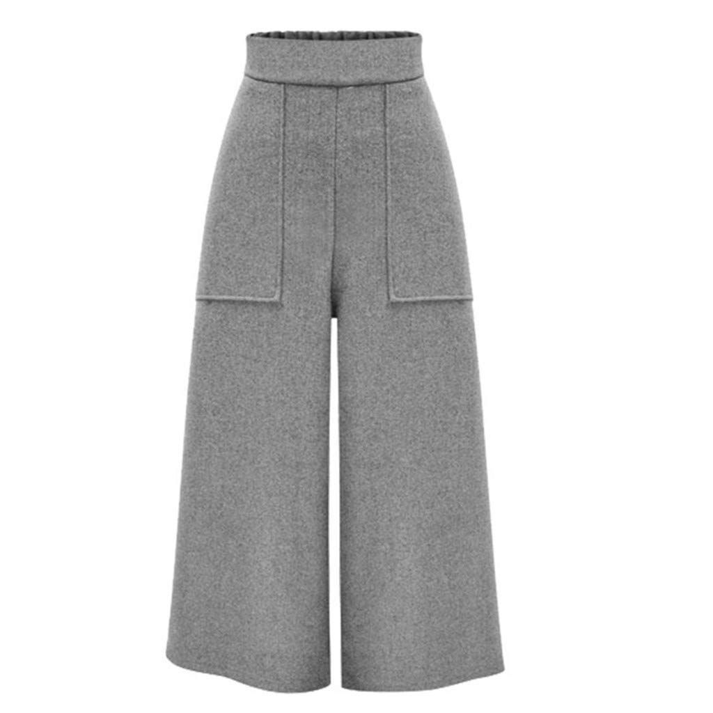 HENWERD Womens Straight Wide Leg Pants Casual Loose High Waisted Pants with Pockets (Gray,XXXL)