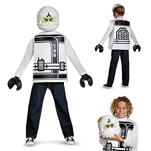 Disguise Zane Lego Ninjago Movie Classic Costume, White, Large -