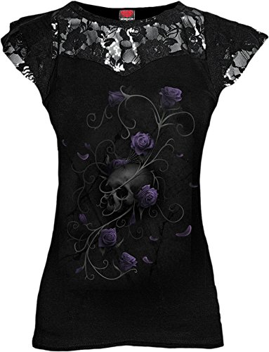 (Spiral - Womens - Entwined Skull - Lace Layered Cap Sleeve Top Black - XL)
