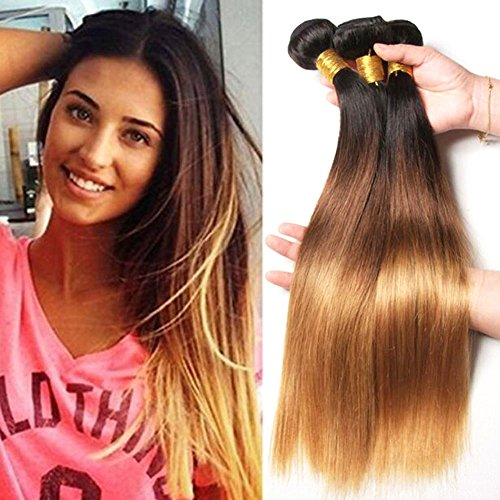 Hairitory Hair Brazilian Straight Human Hair Ombre Color T1B-27 Straight Ombre Hair Weave 3 Bundles 300g (18