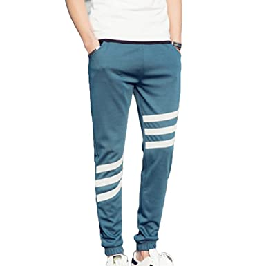 11b873b9de66b Homme Pantalons de jogging pantalons de survêtement à rayures Slim Fit  Pantalon de sport Fitness Football