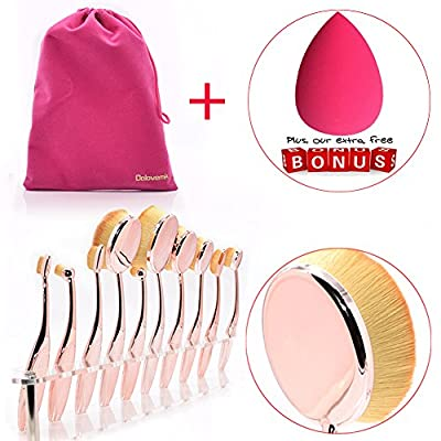 Dolovemk Pro Beauty Makeup Oval Mirror Brushes, Toothbrush Shaped, Eyebrow/Foundation/Powder/BB Cream Brushes Set + Sponge Blender + Pouch Bag