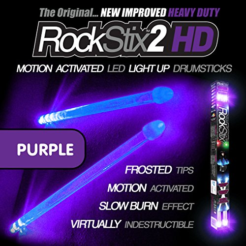 ROCKSTIX 2 HD DEEP PURPLE, BRIGHT LED LIGHT UP DRUMSTICKS, with fade effect, Set your gig on fire! (PURPLE ROCKSTIX) (Color Drumsticks)