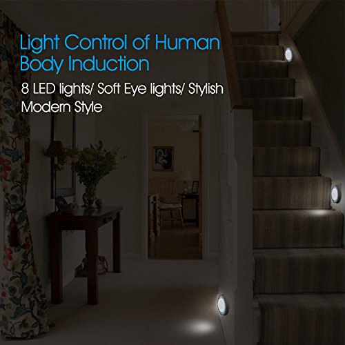 Motion Sensor Light NXET New Design Led Motion Detector Sensor Night Lights with 8 LEDs, Stick-anywhere Cordless Battery-Powered Closet Lights Stair Lights, Safe Lights for Hallway,Kitchen etc-2Pack by NXET (Image #1)