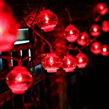 Dreamworth Lanterns String Lights,26.2ft/8M 40 LED Red Lanterns String Lights Battery Operated Fairy String Lights For Wedding, Chinese New Year,Spring Festival,Party Decoration,Christmas(Red Color)