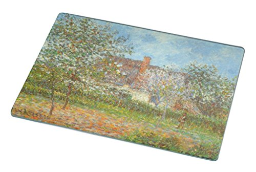 Rikki Knight RK-LGCB-3407 Gustave Loiseau Art Orchard in Spring Glass Cutting Board, Large, White - Orchard Glass Cutting Board