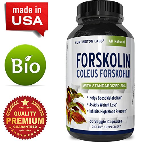 Cheap Forskolin Weight Loss Supplement for Men & Women Pure Coleus Forskohlii Extract Diet Pills Fat Burner Capsules Natural Appetite Suppressant Metabolism Booster Extra Strength by Huntington Labs