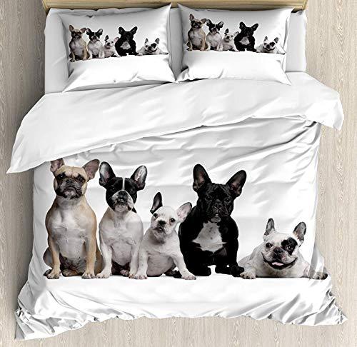 - Crystal Emotion Bulldog 4Pieces Home Comforter Bedding Sets Duvet Cover Sets Bed Sheet Bedspread for Adult Kids,Flat Sheet,Pillow Shams Set, Twin Size