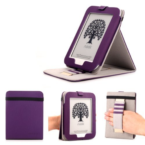Mulbess Barnes & Noble NOOK GlowLight Plus eReader Case - Mulbess Leather Case Cover with Kickstand and Elastic Hand Strap for NOOK GlowLight Plus Color Purple price tips cheap