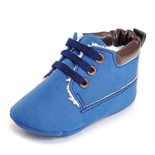 Hunpta Baby Kleinkind weiche Sohle Leder Schuhe Baby Junge Mädchen Schuhe aus Baumwolle (Alter: 12 ~ 18 Monate, Weiß) Blau
