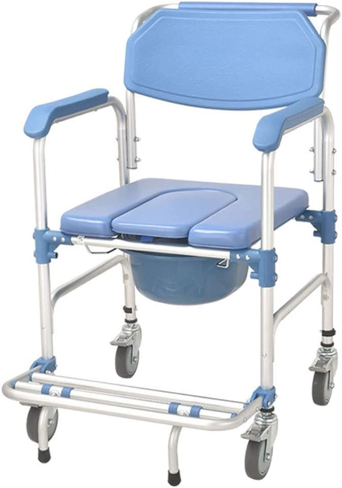 JIUA Silla con inodoro móvil, silla de ducha con asiento con inodoro con ruedas, silla de baño para discapacitados, frenos de 4 ruedas (360 °), puede soportar 150 kg, para personas mayores, discapacit