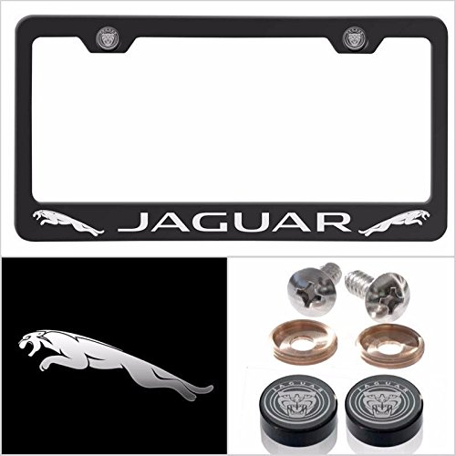 Fit Jaguar Laser Engraved License Plate Frame Made of Industrial Grade Powder Coated Black Matte Black Stainless Steel w/ Caps and Accessories by UFRAME