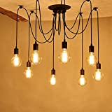 Vintage Industrial Hanging Chandelier Lighting Edison Light Bulb Lamp 110V/60W/E26 Spider Ceiling Pendant Bulbs 6 8 10 12 14 Heads for Dining Room Coffee Shop Theme Restaurant Hall (8 Arms)