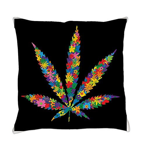 Royal Lion Burlap Suede or Woven Throw Pillow Marijuana Leaf Flowers 60s Colors - Suede, 20 Inch ()