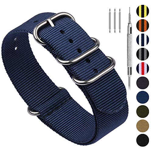 (10 Colors for NATO Watch Band 22mm 20mm 18mm 24mm, Fullmosa Nylon Watch Straps for Men Women, 22mm Blue)