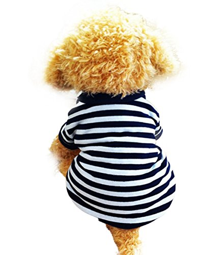 Product image of Binmer(TM) Dog Clothes Pet Dog Classic Wide Stripes T-Shirt Doggy Clothes Cotton Shirts (L, White)