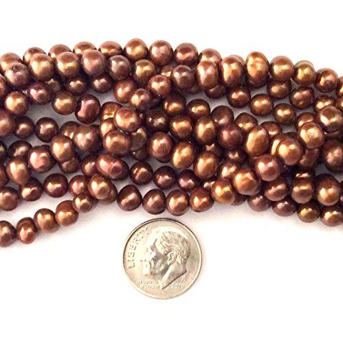 Imagine If.Fresh Water Pearl Brown Bronze Beads 5-6mm Irregular Loose for Jewelry Making 75013