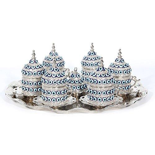 27 Pc Ottoman Turkish Greek Arabic Coffee Espresso Serving Cup Saucer (Evil Eye) ... (Silver)