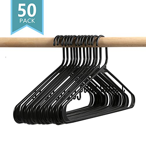 (SMART ONYE Pack of 50 Everyday Standard Premium Plastic Hangers Black-Durable & Slim Space Saving Tubular Clothes Hangers)