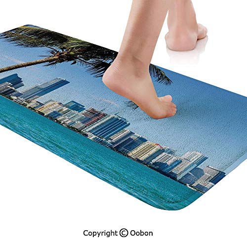 (Coastal Decor Rug Runner,Miami Downtown with Biscayne Bay Buildings and Palm Tree Panoramic,Plush Door Carpet Floor Kitchen Decor Mat with Non Slip Backing,48 X 17.7 Inches,Sky Blue Aqua)
