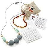 Baltic Amber Teething Necklace for Baby (Cognac) and Silicone Teething Necklace Gift Set for Mom and...