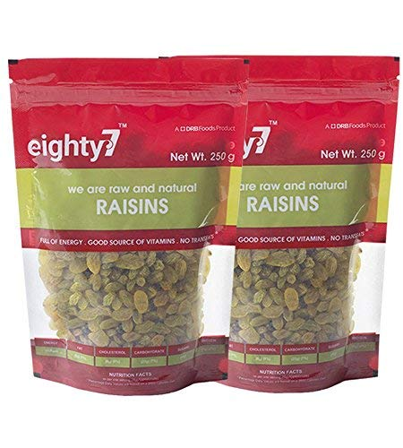 Eighty7 Raisins Kishmish Pack of 2(250 GMS Each), 500g