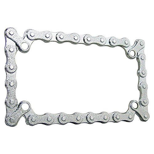 TC Sportline LPF245 3D Bike Chain Style Zinc Metal Chrome Finished Motorcycle License Plate Frame