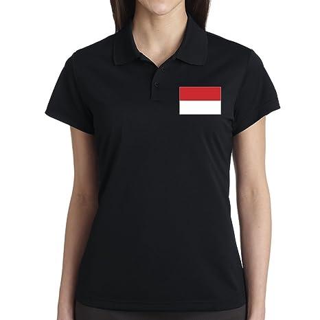 Bandera de Mónaco polo para mujer negro extra-large: Amazon.es ...