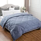 Alternative Comforter - Bedsure Reversible Down Alternative Comforter with Corner Ties Grayish Blue Diamond Stitching Design Duvet Insert Twin Size 68