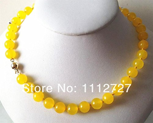"""Dancing Zone Hot ! Beautiful Yellow Jade 10Mm Beads Jewellery Stone Necklace 18 """"14K Solid Clasp"""