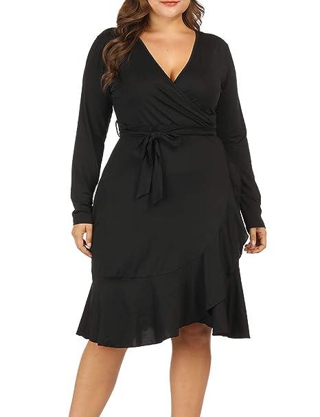 Allegrace Women Plus Size Wrap V Neck Long Sleeve Ruffle Midi Dress  Fishtail Dresses