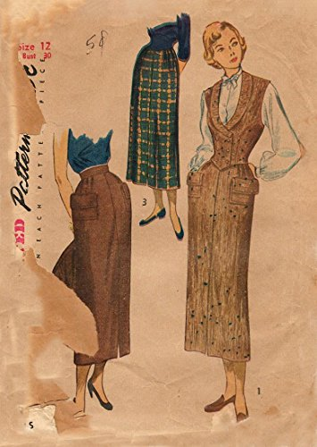 Simplicity 2943 Vintage 1940s Slim Skirt Weskit Pattern ()