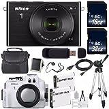 Nikon 1 J4 Mirrorless Digital Camera with 10-30mm Lens (Black) (International Model No Warranty) + Nikon WP-N3 Waterproof Housing + EN-EL22 Battery + 96GB Total Memory + 6AVE Bundle