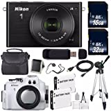 Nikon 1 J4 Mirrorless Digital Camera 10-30mm Lens (Black) (International Model) + Nikon WP-N3 Waterproof Housing + EN-EL22 Battery + 96GB Total Memory + Bundle