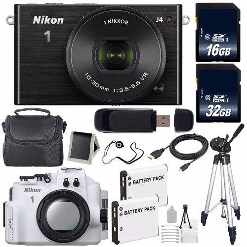 Nikon 1 J4 Mirrorless Digital Camera 10-30mm Lens (Black) (International Model) + Nikon WP-N3 Waterproof Housing + EN-EL22 Battery + 96GB Total Memory + Bundle