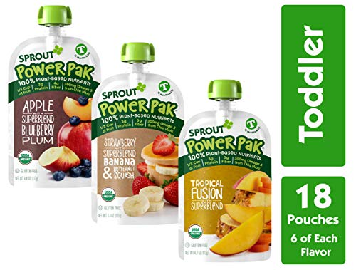 Sprout Organic Stage 4 Toddler Food Power Pak Pouches, Variety Pack, 4 Ounce (Pack of 18) 6 of Each Superblend: Tropical Fusion, Strawberry Banana Butternut & Apple Blueberry Plum