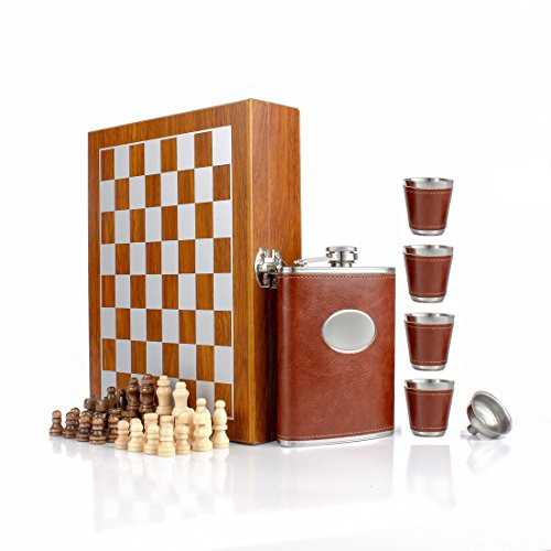 """GENNISSY 9.4"""" Wooden Chess 8OZ Brown Leather Hip Flask Set - Stainless Steel Flasks With Funnel and 4 Cups Gift Box"""